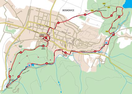 Výřez mapy závodu na 12,5 km