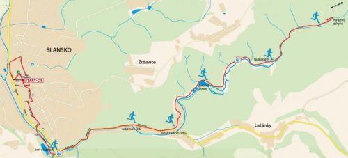 Výřez mapy 21 km půlmaratonu