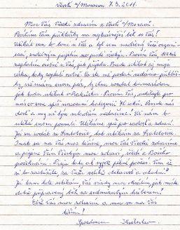 Dopis Květoslava Hány