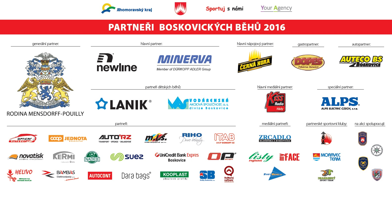 Partneři Boskovických běhů 2016