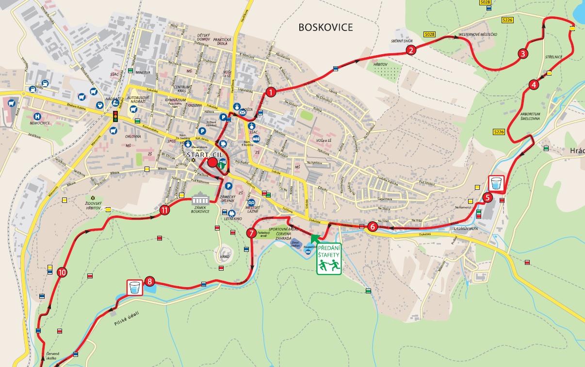 Výřez mapy závodu na 12 km