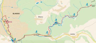 Výřez mapy půlmaratonu