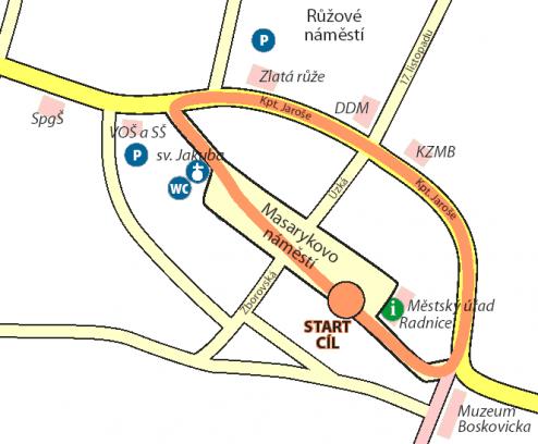 Mapa lidového běhu na 800 m